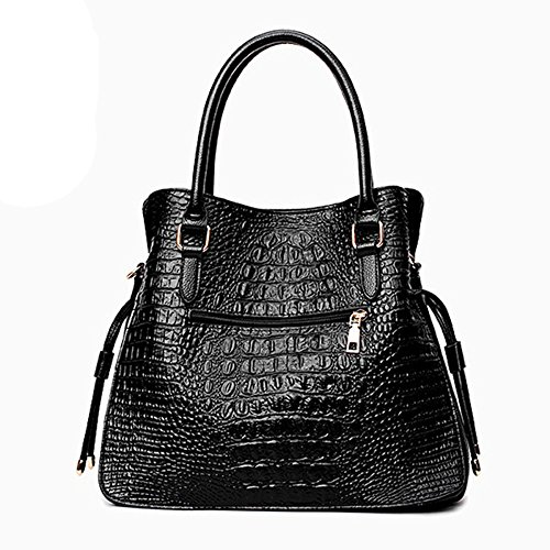 Bag Leather Satchel Womens Top Crossbody Bag Lady Pu Black Tote Shoulder Crocodile Large Fashion Handle Casual Handbag zHHfnxF
