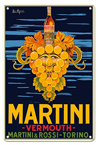 Pacifica Island Art 8in x 12in Vintage Tin Sign - Martini & Rossi Vermouth - Turin (Torino) Italy - Vintage Advertising Poster by San Marco c.1950 ()