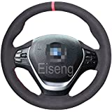Eiseng Steering Wheel Cover for BMW 3 Series F30 F31 328i 335i 340i Sedan 2013-2017 for BMW 3GT 2014-2018 / for BMW 4 Series 428i 430i 435i 2014-2017 Interior Accessories (Black Suede Red thread)