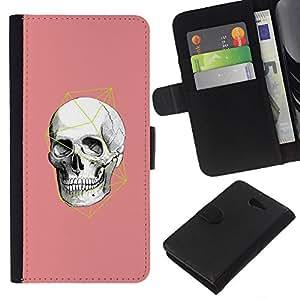 For Sony Xperia M2 Case , Pink White Geometry Anatomy - la tarjeta de Crédito Slots PU Funda de cuero Monedero caso cubierta de piel