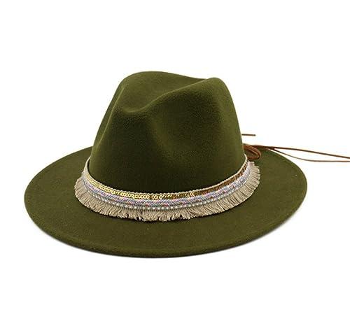 Sombreros Fedora Jazz Trilby Mujer Fieltro Clásico Sombrero de Otoño Invierno, Multi-Color