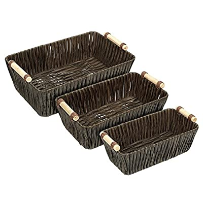 Juvale Storage Basket - 3-Piece Nesting Baskets, Brown Woven Storage Containers Wooden Handles - Storage Bins - Decorative Organizing Baskets Shelves, Magazines, Books, Toys - Small, Medium, Large - 3-PIECE SET: This set of 3 utility nesting baskets in varying sizes will hold a multitude of treasures. Baskets stack within each other for a neat and compact storage when not in use. DURABLY BUILT: Made of flexible, powder-coated plastic woven over a sturdy wire frame. Each basket features wooden handles for easy handling and transporting. DECORATIVE YET FUNCTIONAL: Modern rustic design adds a natural touch to your home while they store all your odds and ends. - living-room-decor, living-room, baskets-storage - 514732ieV6L. SS400  -