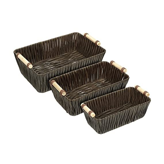 Juvale Storage Basket - 3-Piece Nesting Baskets, Brown Woven Storage Containers Wooden Handles - Storage Bins - Decorative Organizing Baskets Shelves, Magazines, Books, Toys - Small, Medium, Large - 3-PIECE SET: This set of 3 utility nesting baskets in varying sizes will hold a multitude of treasures. Baskets stack within each other for a neat and compact storage when not in use. DURABLY BUILT: Made of flexible, powder-coated plastic woven over a sturdy wire frame. Each basket features wooden handles for easy handling and transporting. DECORATIVE YET FUNCTIONAL: Modern rustic design adds a natural touch to your home while they store all your odds and ends. - living-room-decor, living-room, baskets-storage - 514732ieV6L. SS570  -