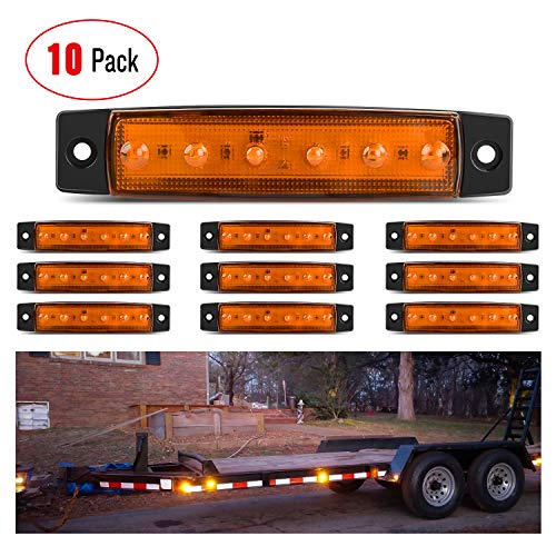 Nilight TL-14 10PCS 3.8 6 Amber Indicator Rear Side Truck Trailer RV Cab Boat Bus Lorry LED Marker Clearance Light, 2 Years Warranty