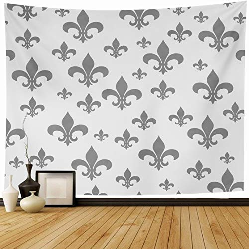 Ahawoso Tapestry Wall Hanging 80x60 Tile Fleur Gray Fleurdelis Pattern That Abstract De Lis Antique Classic LYS French Design Home Decor Tapestries Decorative Bedroom Living Room Dorm