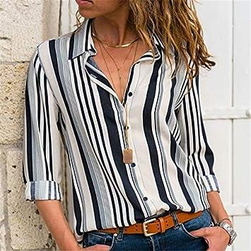 LFMDSY Blusas Mujer Ocio Camisa a Rayas Manga Larga Cuello hacia Abajo Señora Camisa Oficina Blusa otoño Top Talla Grande: Amazon.es: Deportes y aire libre