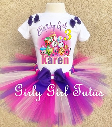 Shopkins Dress 1st First 1 Birthday Shirt Personalized  2 Pc Tutu Outfit Yellow Fast Shipping +NAME+