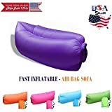 Fast Inflatable Portable Outdoor or Indoor Wind Bed Lounger, Air Bag Sofa, Nylon Fabric Bean Bag, Air Sleeping Sofa Couch, Lazy Bed for Camping, Beach, Park, Backyard