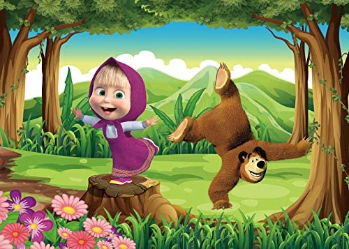 7x5ft Cartoon Masha and The Bear Theme Photography Background Green Grass Flowers Rabbit Baby Shower Birthday Party Backdrops Girls Princess Photo Studio Props Banner