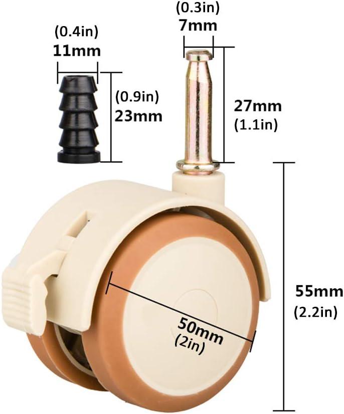 11 X 23 mm 2 Zoll//50 mm,200 kg Tragf/ähigkeit,M7-Montagestange,mit H/ülse KDDEON 4 St/ück Lenkrollen,M/öbelrollen mit Bremsen,Schwenkrollen,Vollgummirollen