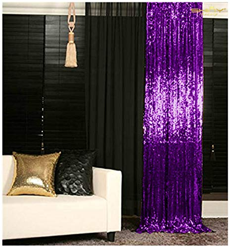 Sequin Curtains 2 Panels Purple 2FTx8FT Sequin Photo Backdrop Royal Purple Sequin Backdrop Curtain Pack of 2~1011E ()