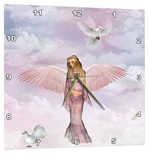 3dRose Beautiful Angel with Doves – Wall Clock, 10 by 10-Inch (dpp_19386_1)