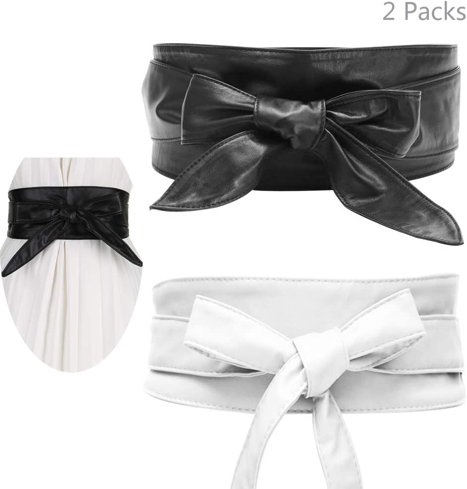 حزمتان من جوركسي للنساء بعقدة شريطية من البولي يوريثين حزام للنساء حزام فيونكة ربطة عنق التفاف فو جلد أوبي نمط بوهو كورسيه أحزمة الخصر - أسود وكريمي أبيض