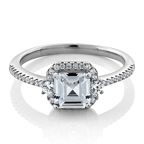 Women's Vintage 925 Sterling Silver Princess Cut 1.00 Cttw White Cubic Zirconia CZ Engagement Ring by Gem Stone King