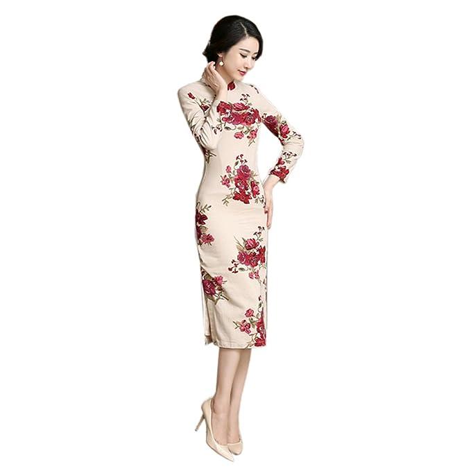 Yuelian Cheongsam Donna Elegante Con 2 Disegni Amazon It Abbigliamento