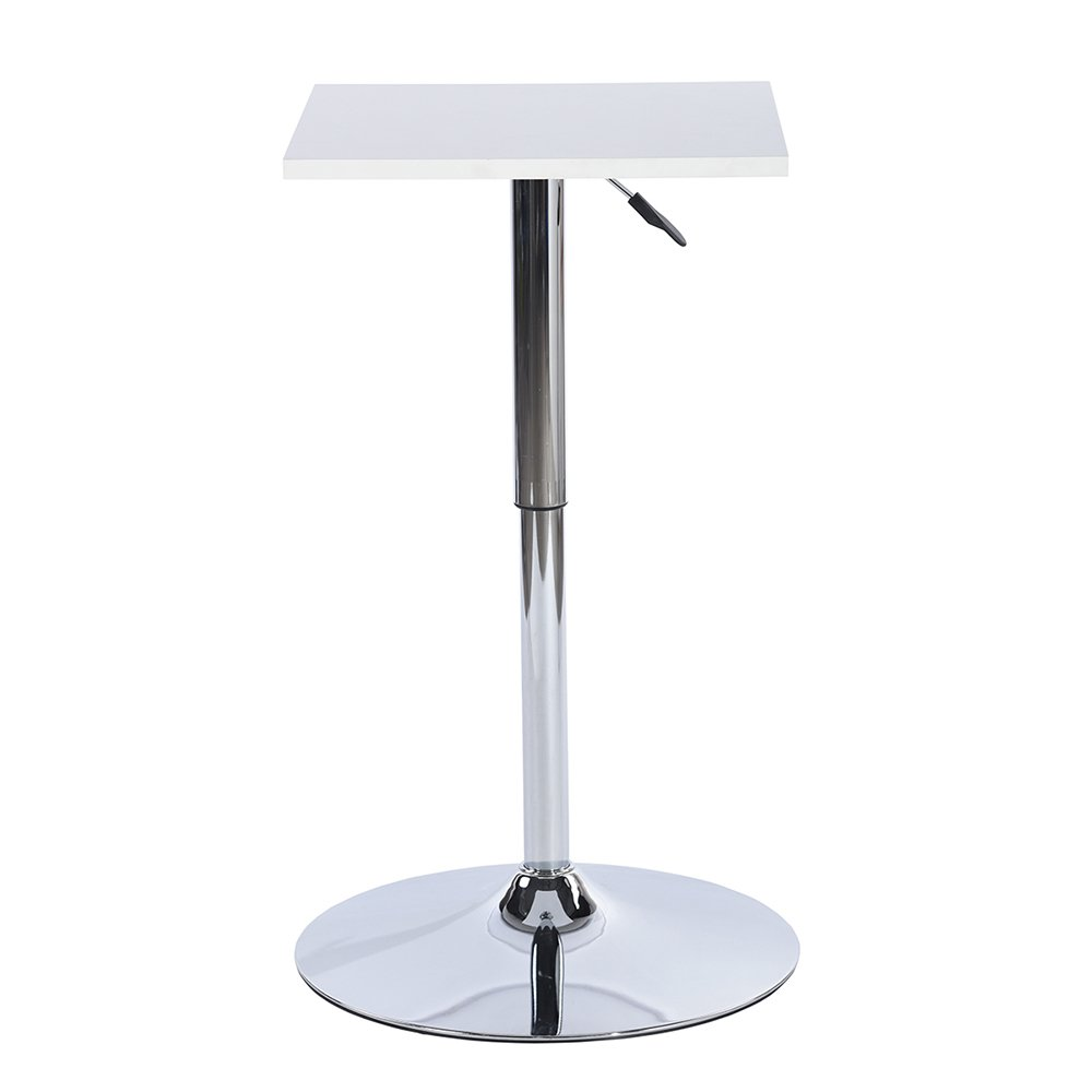 Bar Table Square Table Bar Height Adjustment MDF Chrome Metal White FITATHOME