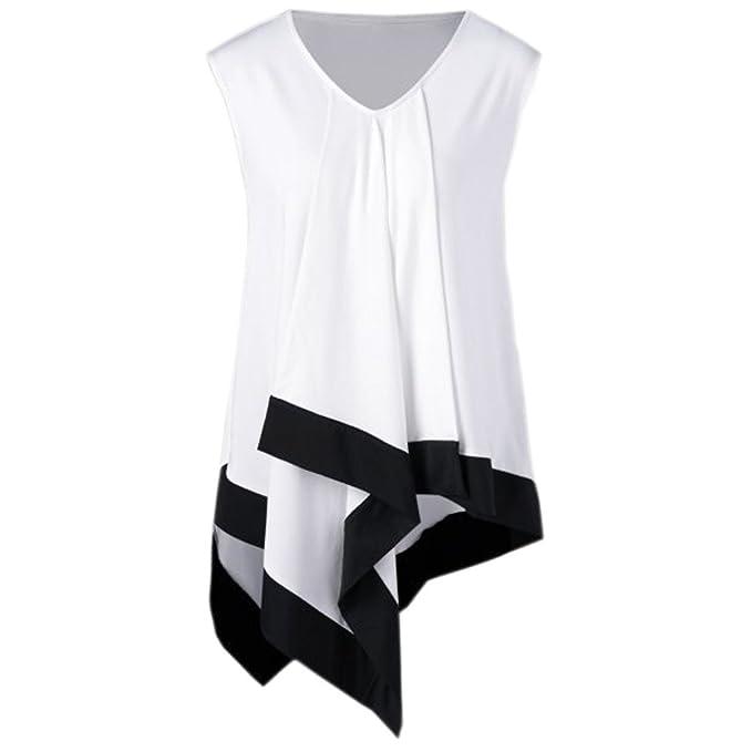 Camisas Mujer Tallas Grande, ❤️LANSKIRT❤ Top de Suelto con Irregular Dobladillo Camiseta