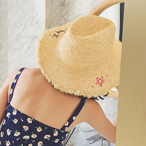Wyqlz Paglia Cappello Solare Tesa Estivo Spiaggia Sole Regolabile Panama Visiera Moda Cappelli Protezione Di Larga Femminile Raffia Mare RrqEr