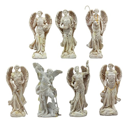 Ebros Ivory Colored Orthodox Christian Church Seven Archangels Statue Set 5