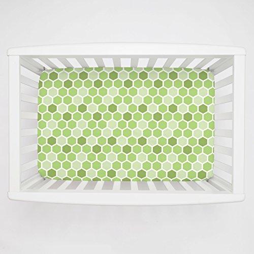Carousel Designs Green Honeycomb Mini Crib Sheet 1-Inch-4-Inch Depth - Organic 100% Cotton Fitted Mini Crib Sheet - Made in the USA (4in 1 Crib Honey)