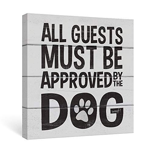 SUMGAR Front Door Decor Black and Grey Dog Sayings Canvas Wall Art Quotes Ready to Hang,12x12inch
