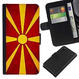 EJOY---La carpeta del tirón la caja de cuero de alta calidad de la PU Caso protector / Sony Xperia Z3 D6603 / --Nacional bandera de la nación País macedonio