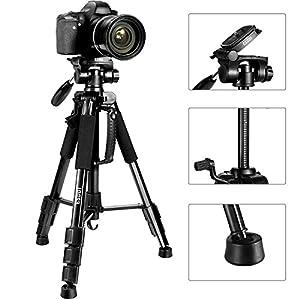ESDDI Camera Tripod, 55'' Professional DSLR Aluminum Camera Tripod for Canon, Nikon, Sony, Samsung, Olympus, Panasonic & Pentax + eCost Microfiber