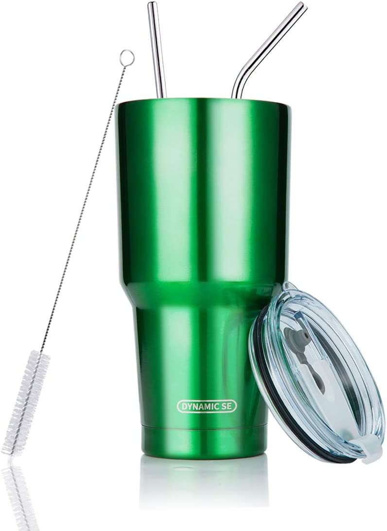 DYNAMIC SE 30oz Green Tumbler Double Wall Stainless Steel Vacuum Insulated Travel Mug with Splash-Proof Lid Metal Straw and Brush