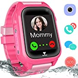Waterproof GPS Tracker Watch for Kids - IP67 Water-Resistant Smartwatches Phone with GPS/LBS Locator SOS Camera Voice Chat Games for Back to School Children Boys Girls (05 Pink GPS)