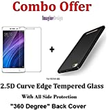 "WOW Imagine COMBO PACK OF 2.5D 0.3mm Toughened Tempered Glass Screen Protector and All Sides Protection ""360 Degree"" Sleek Rubberised Matte Hard Back Case Cover (Pitch Black) For XIAOMI MI REDMI 4A"