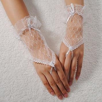 Fingerlose Brauthandschuhe für Hochzeit, kurz, Spitze, in Rot, Schwarz und Weiß, schwarz, Length:Approx 18cm/7.1 Schwarz und Weiß Length:Approx 18cm/7.1 homeking Co. LTD