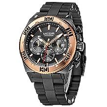 Megir Army Slicone Military Sport Quartz Wrist Watch with Analog Display