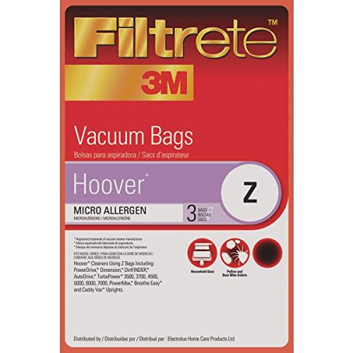 Amazon.com - Hoover Z MicroAllergen Bags, 3 Bags Per Pack, by Filtrete - Household Vacuum Bags Upright