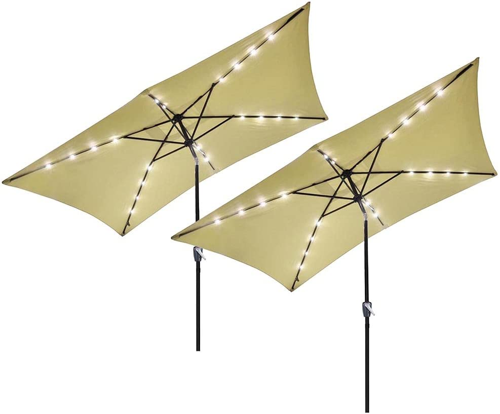 Yescom 10 x 6.5 Rectangle Aluminum Solar Outdoor Crank Tilt Patio Umbrella w 20 LEDs Poolside Garden Pack of 2