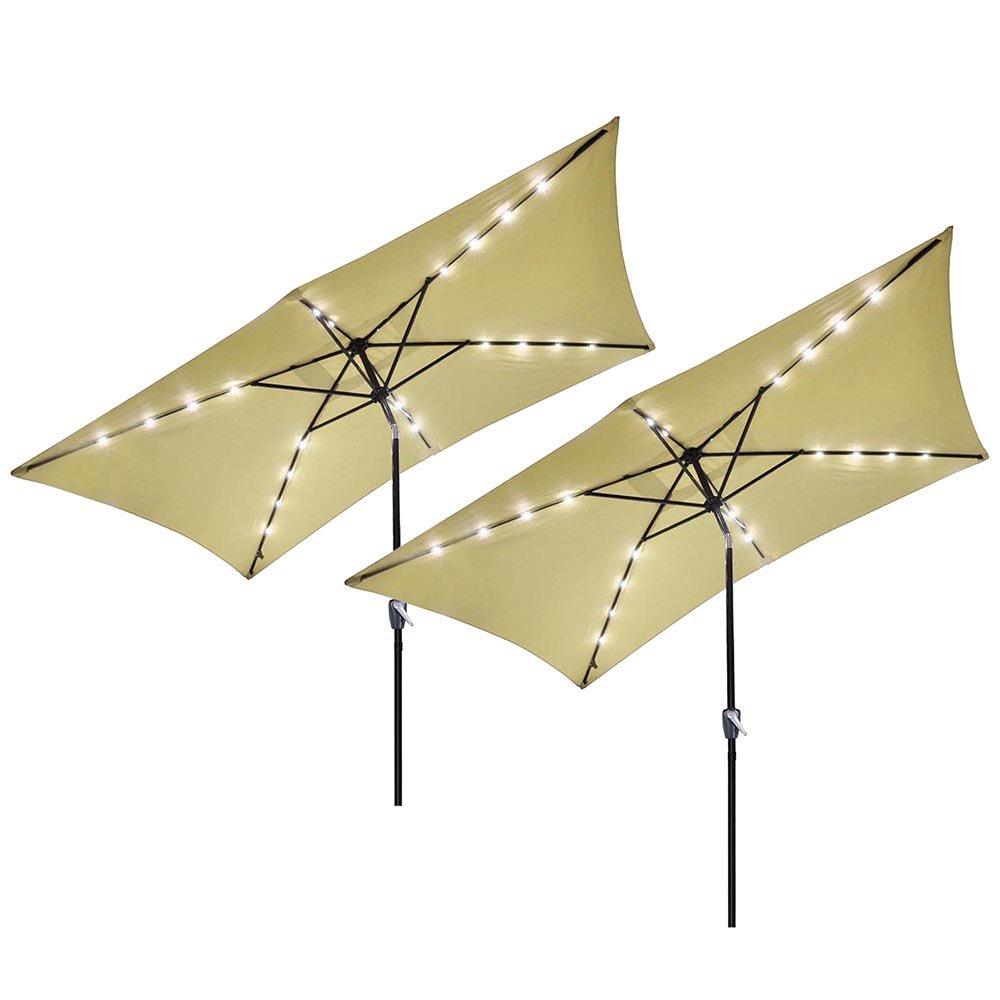 Yescom 10' x 6.5' Rectangle Aluminum Solar Outdoor Crank Tilt Patio Umbrella w/ 20 LEDs Poolside Garden (Pack of 2)