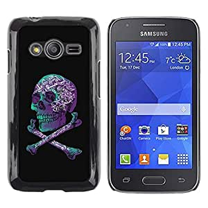 Paccase / SLIM PC / Aliminium Casa Carcasa Funda Case Cover - Purple Black Crossbones Teal Skull - Samsung Galaxy Ace 4 G313 SM-G313F