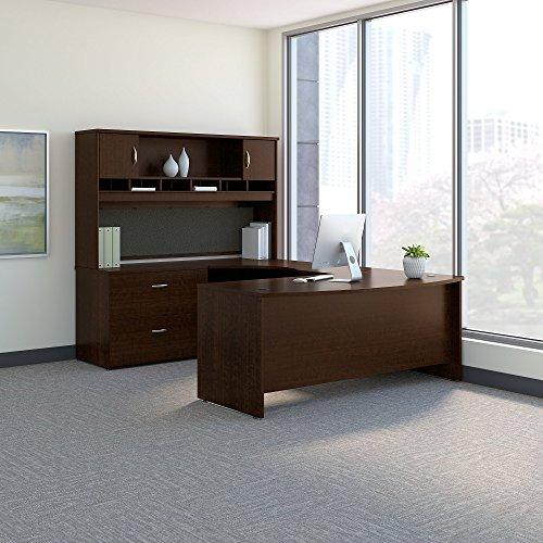 - Bush Business Furniture SRC005MRLSU Series C 72W Left Handed Bow Front U Shaped Desk with Hutch and Storage, Mocha Cherry