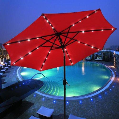 9′ Aluminium Outdoor Tilt Patio Umbrella TropiLight Solar Powered Panel w/ 32 LEDs – RED