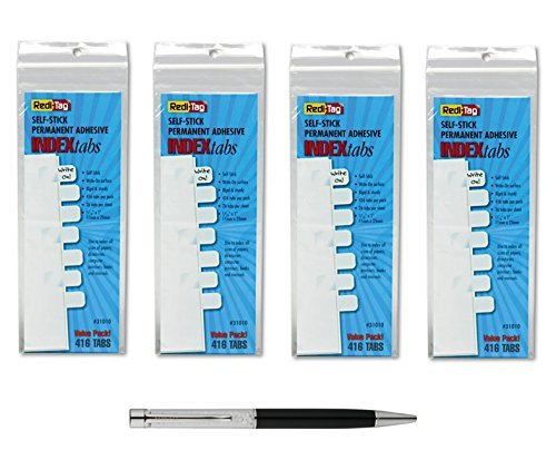 Redi-Tag Write-On Index Tabs, Permanent Adhesive, 7/16 x 1 Inches, Bulk Packed, 416 tabs Per Pack, 4-Pack Bundle, White (31010) - Bundle Includes Plexon Ballpoint Pen