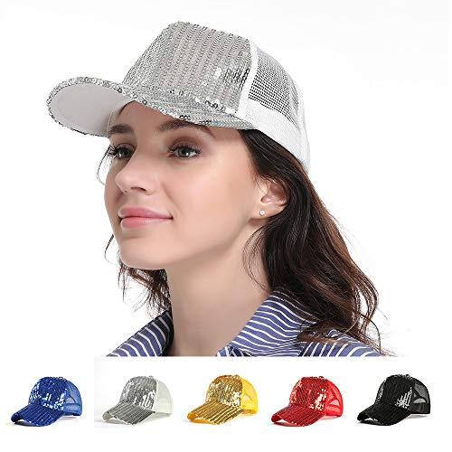 Haluoo Sequins Baseball Cap, Glitter Baseball Hat Breathable Summer Mesh Cap Adjustable Snapback Strap Trucker Hat Polo Style Unconstructed Dad Hat Golf Sun Hat for Women (Black)