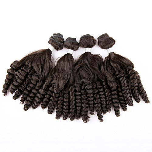 Beauty : Synthetic Fumi Hair Bundles Curly Loose Weave Hair Natural Black Hair Extensions 200g 4Pcs/Pack(16 16 18 18inch)