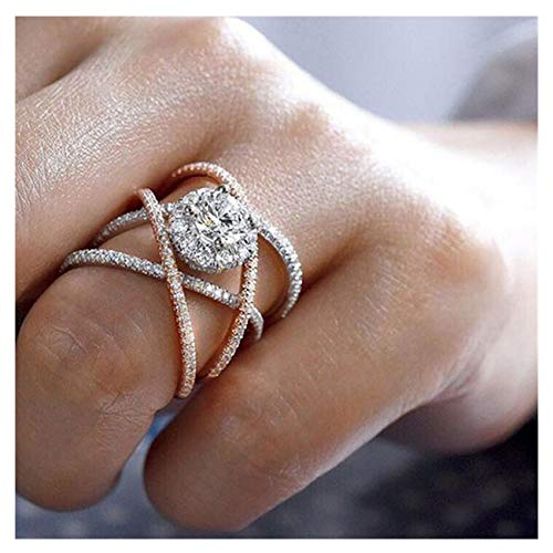 Big Sale! Elegant Diamond Fine Ring Charm Creative Rings Wedding Band Engagement Rings for Women (Rose Gold A, - Locket Band