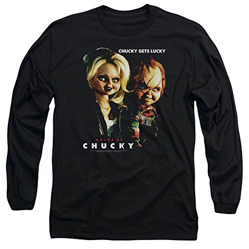 A&E Designs Bride Of Chucky T-shirt Movie Chucky Get Lucky Black Long Sleeve Shirt -