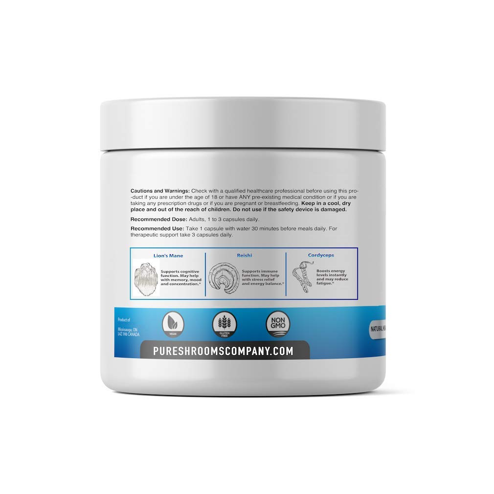 Pure Shrooms – 3 Adaptogenic Shrooms – 90 Servings – Blend of Organic Lion s Mane, Reishi, and Cordyceps Mushrooms. Potent Formula. No Added Starch.