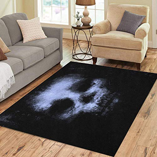 Pinbeam Area Rug Blue Horror Skull for Halloween and Movie Project Home Decor Floor Rug 5' x 7' Carpet]()
