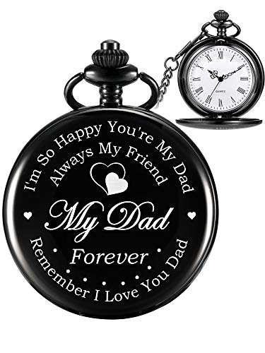 a04f71fee Hicarer Pocket Watch Engraved Gifts for Dad Father with Gift Box, Christmas  Birthday Fathers Day