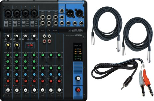 Yamaha MG10 10-Input Stereo Mixer w/ (2) 20' XLR Mic Cables and Stereo 1/8