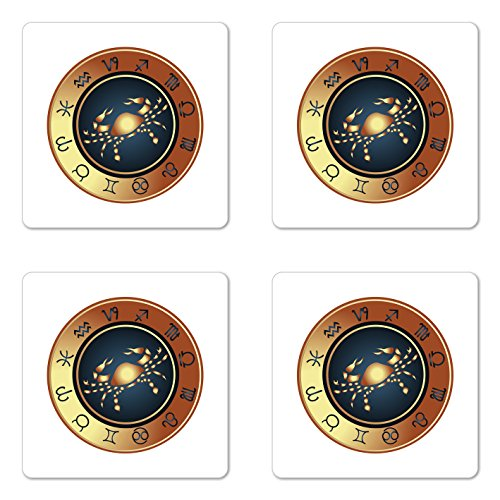 Lunarable Zodiac Cancer Coaster Set of Four, Silhouette of a Crab in Ombre Style Frame Cancer Horoscope, Square Hardboard Gloss Coasters for Drinks, Brown Dark Blue Pale (Cancer Zodiac Frame)
