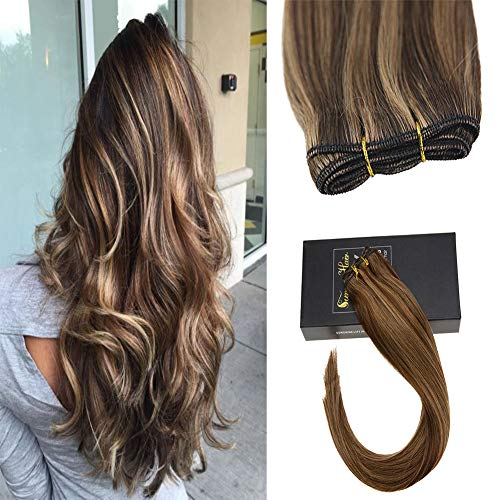 Sunny 20inch Brown Sew in Hair Bundles Human Hair #4 Dark Brown Highlight #27 Caramel Blonde 100% Real Hair Weft Extensions 100g/Bundle