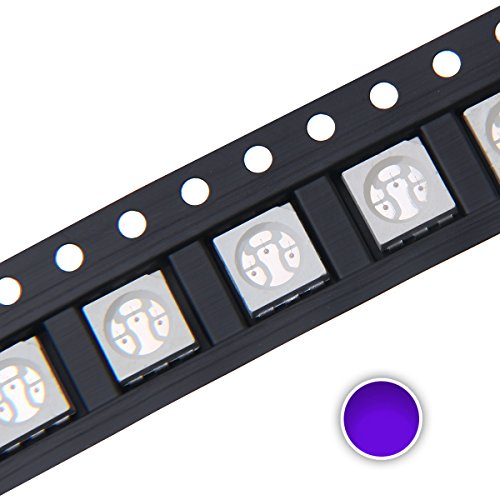 Chanzon 100 pcs 5050 UV Purple SMD LED Diode Lights (Ultraviolet 395nm 5.0mm x 5.0mm 3 Chips/LED PLCC 6 pins 60mA) Lighting Bulb Lamps Electronics Components Light Emitting Diodes
